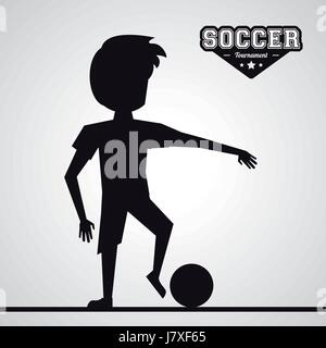 black silhouette faceless athlete football player - Stock Photo