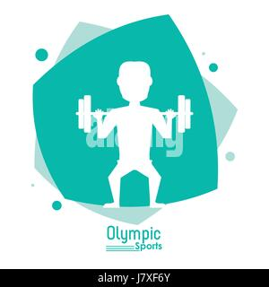 color abstract scene with silhouette faceless man lifting weights olympic sport - Stock Photo