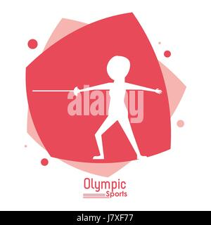 color abstract scene with silhouette faceless fencing player olympic sport - Stock Photo
