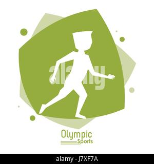 color abstract scene with silhouette faceless runner man olympic sport - Stock Photo