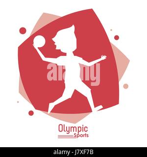 color abstract scene with silhouette faceless handball player olympic sport - Stock Photo