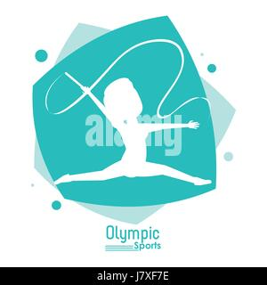 color abstract scene with silhouette faceless woman rhythmic gymnastics olympic sport - Stock Photo