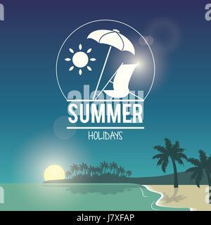 beautiful poster seaside with logo summer holydays - Stock Photo