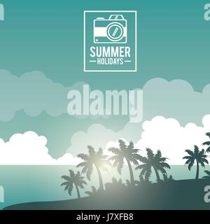 poster sky landscape of palm trees on the beach with logo summer holidays with camera - Stock Photo
