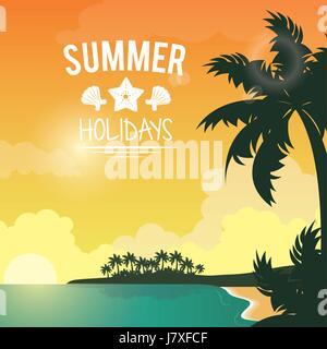 poster sunset seaside with logo summer holydays - Stock Photo