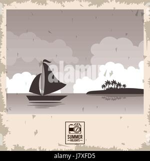 sepia color poster seaside with yacht and summer holydays typography - Stock Photo