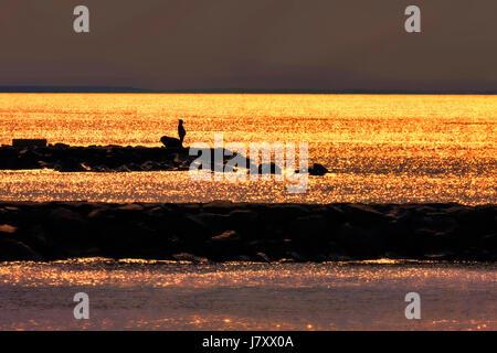 Fisherman fishing on cliff at sunset - Stock Photo