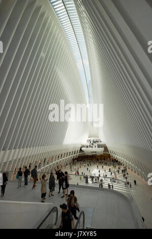 World Trade Center transportation hub and Westfield World Trade Center shopping mall known as the Oculus new york - Stock Photo