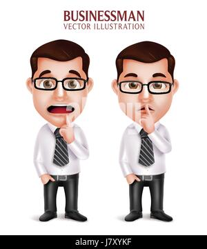 Vector Set of Professional Business Man Character in Silent Gesture and Worried Isolated in White Background. Vector - Stock Photo