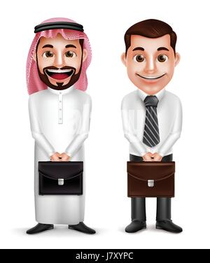 Saudi Arab man and a businessman vector characters holding briefcase with a friendly smile isolated in white background. - Stock Photo