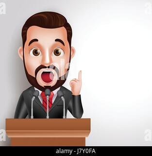 Vector Character Speaker in Conference or Having Debate Talking in Microphone. Vector Illustration - Stock Photo