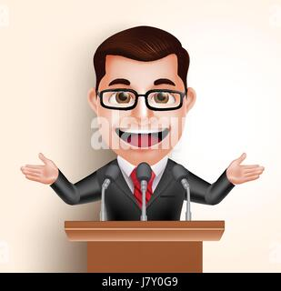 Vector Character Happy Politician Man or Speaker in Conference Speech. Vector Illustration - Stock Photo