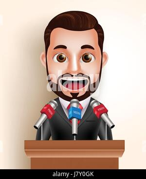 Vector Character Happy Politician Man or Speaker with Media Press Interview. Vector Illustration - Stock Photo