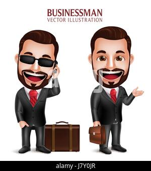 Professional Business Man Vector Character Happy Traveling with Suitcase Isolated in White Background. Set of Vector - Stock Photo