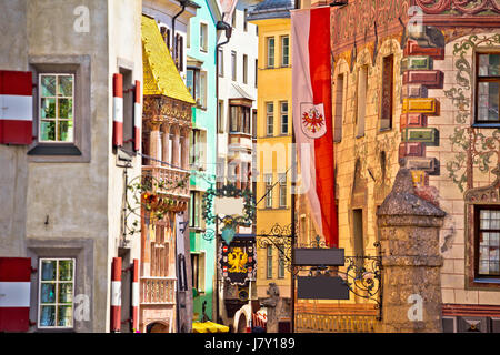 Historic street of Innsbruck view, alpine city in Tirol, region of Austria - Stock Photo
