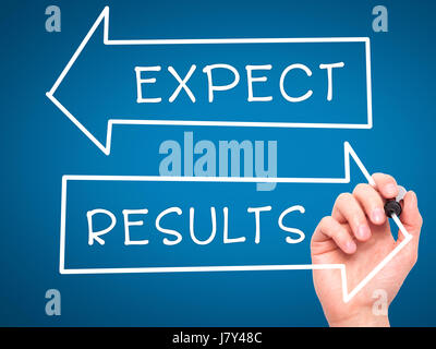 Man Hand writing Expect and Results with marker on transparent wipe board. Isolated on blue. Business, internet, technology concept. Stock Photo