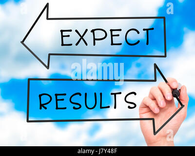 Man Hand writing Expect and Results with marker on transparent wipe board. Isolated on sky. Business, internet, technology concept. Stock Photo