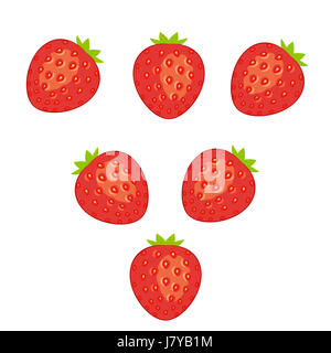 an illustration of strawberry fruit in opposite direction on a white background - Stock Photo