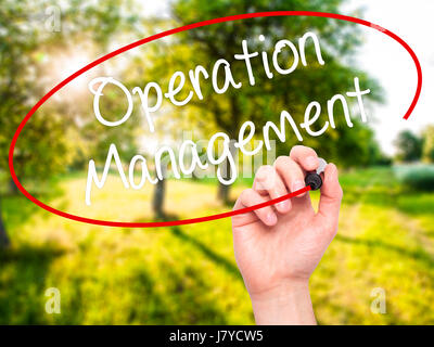 Man Hand writing Operation Management with black marker on visual screen. Isolated on background. Business, technology, - Stock Photo