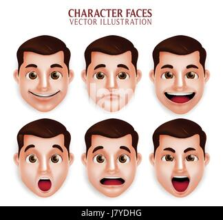 Vector Set of Handsome Man Head with Different Facial Expression Isolated in White Background. Vector Illustration - Stock Photo