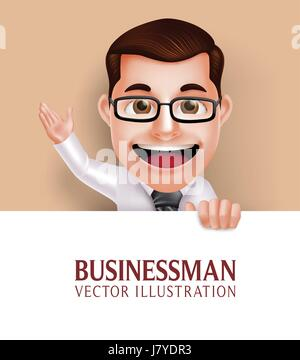 Vector Set of Realistic Beard Man Head with Different Facial Expression Isolated in White Background. Vector Illustration - Stock Photo