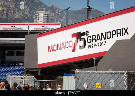 Preparations day before 75th Monaco Grand Prix in Monte Carlo. - Stock Photo