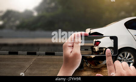 accident on street, damaged automobiles  take photo car crash accident for insurance - Stock Photo