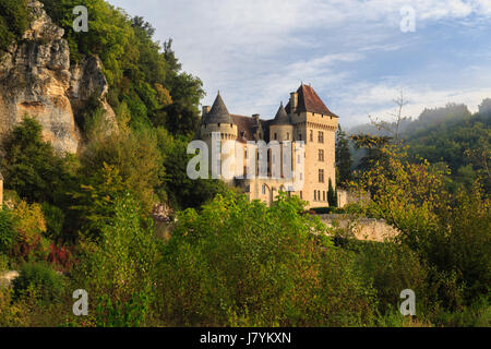 France, Dordogne, Vezac, Malartrie Castle at the entrance of the village of La Roque Gageac - Stock Photo