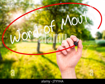 Man Hand writing Word of Mouth  with black marker on visual screen. Isolated on background. Business, technology, - Stock Photo