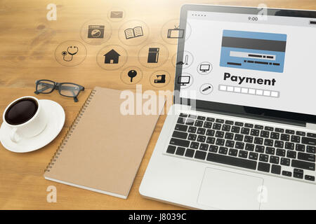 Man using mobile payments online shopping m-banking  Internet Global Marketing - Stock Photo