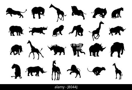 An African safari animal silhouette set including elephants, giraffes, rhinos and lions - Stock Photo