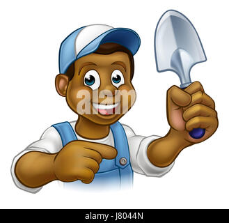 A cartoon black gardener holding a gardening tool and pointing - Stock Photo