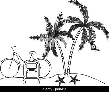 black silhouette with landscape in beach with bike and luggage next to palm trees - Stock Photo