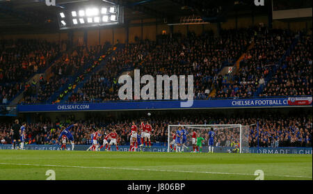 Chelsea's Marcos Alonso takes a free kick during the Premier League match between Chelsea and Middlesborough at - Stock Photo