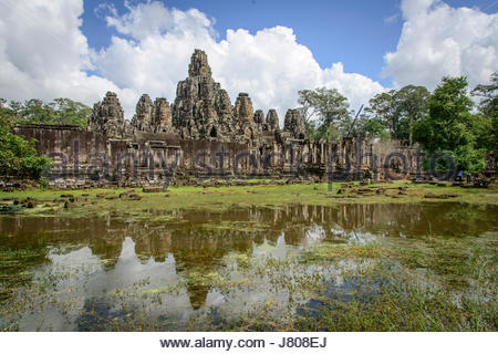 Panorama of Front side of the main complex of Angkor Wat Temple, Cambodia - Stock Photo
