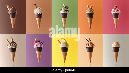 Assortment of natural fruit ice cream isolated with representative color background in a pattern. Front view - Stock Photo
