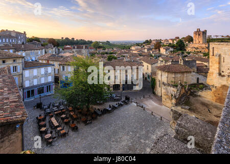 France, Gironde, Saint Emilion, listed as World Heritage by UNESCO, the main square in the morning - Stock Photo