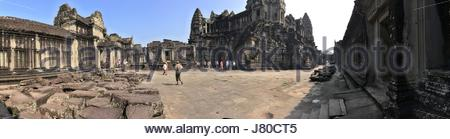 Panorama of inside of the main complex of Angkor Wat Temple, Cambodia - Stock Photo
