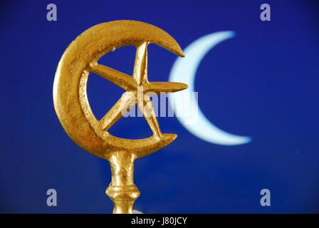 Symbol Of Islam Star And Crescent Moon Abstract Night Sky