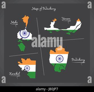 Puducherry detailed maps map with Indian national flag illustration - Stock Photo