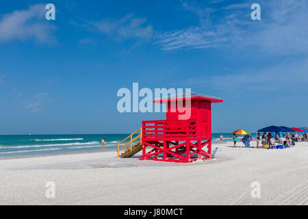 Red Lifeguard tower Siesta Key Beach number 1 beach in US on the Gulf of Mexico in Sarasota Florida - Stock Photo
