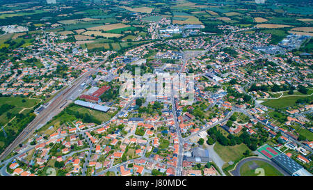 High angle view of Sainte Pazanne city near Nantes, Loire Atlantique, France - Stock Photo