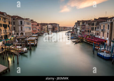 View on Grand Canal from Rialto Bridge, Venice, Italy - Stock Photo