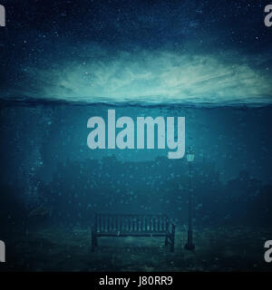 Underwater fantasy world. Modern city ruins under the sea and a wooden bench with a street lamp drowned. Adventure and journey concept of marine life.