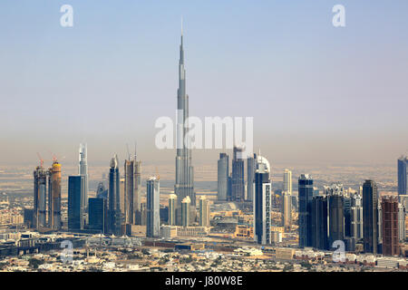 Dubai Burj Khalifa Downtown aerial view photography UAE - Stock Photo