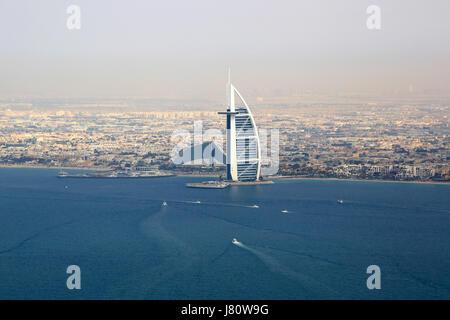 Dubai Burj Al Arab Hotel sea aerial view photography UAE - Stock Photo