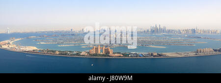 Dubai The Palm Jumeirah Island Atlantis Hotel panorama Marina aerial view photography UAE - Stock Photo