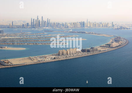 Dubai The Palm Jumeirah Island Marina aerial view photography UAE - Stock Photo