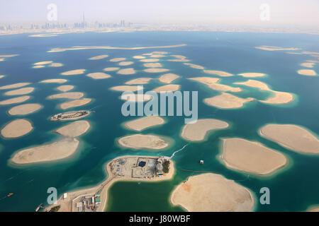 Dubai The World Islands Germany Austria Switzerland France panorama Spain Netherlands Island aerial view photography - Stock Photo
