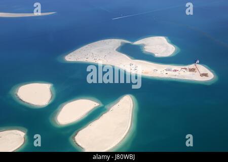 Dubai The World Clarence Island Islands aerial view photography UAE - Stock Photo